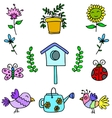 Doodle of colorful spring items vector image vector image