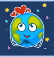earth with dreamy face and hearts above in starry vector image