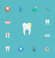 flat icons brace cleaned decay and other vector image