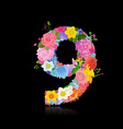 Fun number of fancy flowers on black background 9 vector image