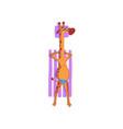 giraffe sunbathing on the beach cute animal vector image vector image