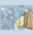 girl blowing bubbles vector image