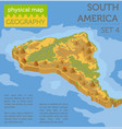 isometric 3d south america physical map elements vector image vector image