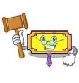 judge ticket mascot cartoon style vector image