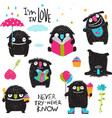 little kids black monsters activity collection vector image vector image