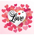 love white heart arrow with mani pink heart blackg vector image