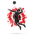 man volleyball player action cartoon graphic vector image vector image