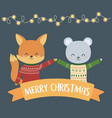 merry christmas celebration cute fox and bear with vector image vector image