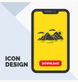 mountain hill landscape nature evening glyph icon vector image