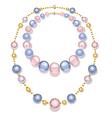 Necklace of Blue and Pink Beads vector image vector image