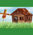 old wooden house in the field vector image vector image