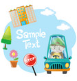 paper design with boy driving blue car vector image