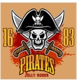 Pirate Skull in black hat with Cross Swords vector image vector image