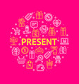 present signs round design template thin line icon vector image vector image