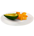 realistic green avocado and yellow tomatoes in a vector image