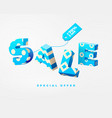 sale 3d sign blue on white vector image vector image