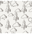 seamless pattern with rockets clouds and vector image vector image