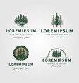 set evergreen pine tree logo vintage with vector image vector image