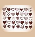 set hand drawn doodle sketch hearts in vintage vector image vector image