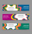 set horizontal paper cut layered banner vector image