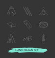 set of glamour icons line style symbols with foot vector image
