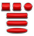 set of red glossy buttons vector image vector image