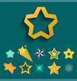 shiny star icons in different style pointed vector image