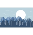 Silhouette of building scenery with full moon vector image
