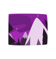 snowy mountains at night time beautiful landscape vector image vector image