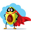 superhero avocado super food cartoon vector image