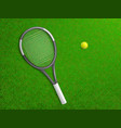tennis racket ball on grass realistic vector image vector image