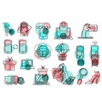 thin lines web icons set for e-commerce vector image