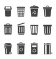 trash cans and containers glyph icons set vector image vector image
