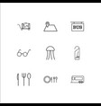 travel and tourism outline icons set vector image