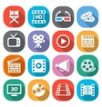 Trendy flat cinema and movie icons vector image
