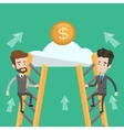Two businessman climbing to success vector image vector image