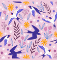 vintage seamless pattern with flying swallows vector image vector image