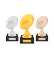 winner rugawards set gold silver bronze trophy vector image vector image