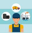 worker barrels truck tanker and plant oil industry vector image vector image