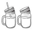 a set of juices in glass jars with straws vector image