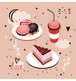 Delicious Food Sweet menu Dessert set Donut Cake vector image