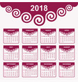 2018 calendar for new year celebration vector image vector image