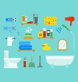 bath equipment icons shower flat style colorful vector image vector image