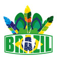 brazilian label with flag and flip flops vector image vector image