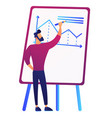 businessman drawing growth chart on board vector image vector image