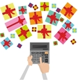 calculator and gifts count on presents vector image vector image
