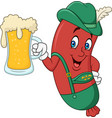 cartoon sausage in traditional costume with beer vector image