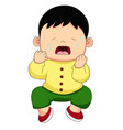 cartoon sitting and crying little baby boy vector image