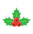 christmas holly berries flat icon new year vector image vector image