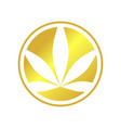 circle cannabis golden emblem symbol logo design vector image